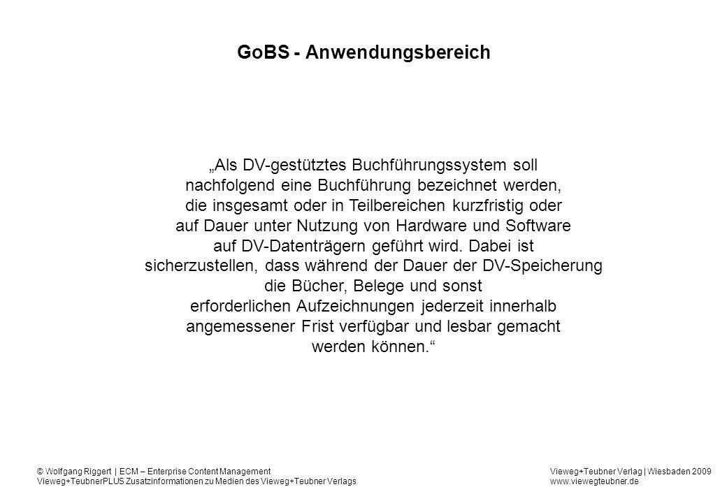 GoBS - Anwendungsbereich