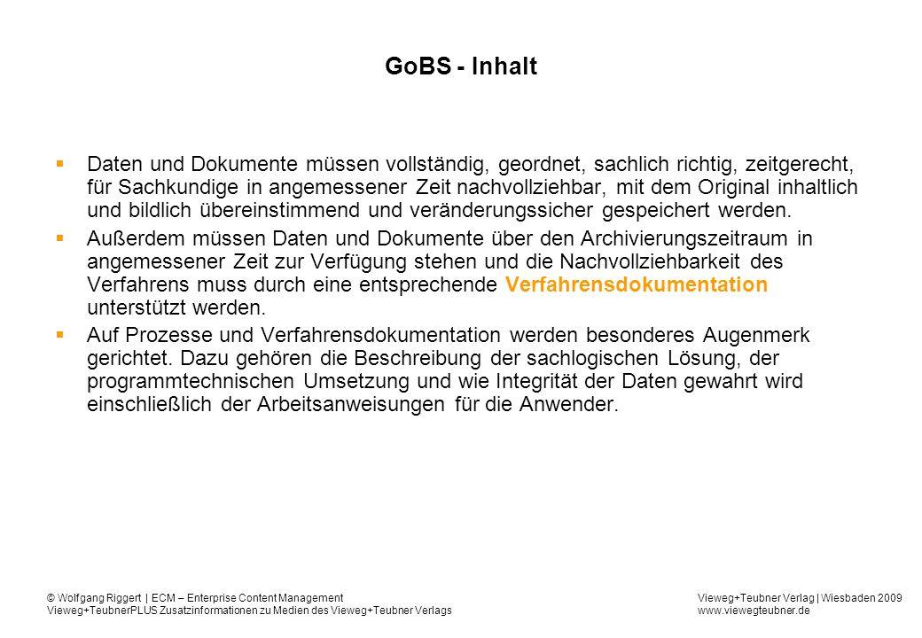 GoBS - Inhalt