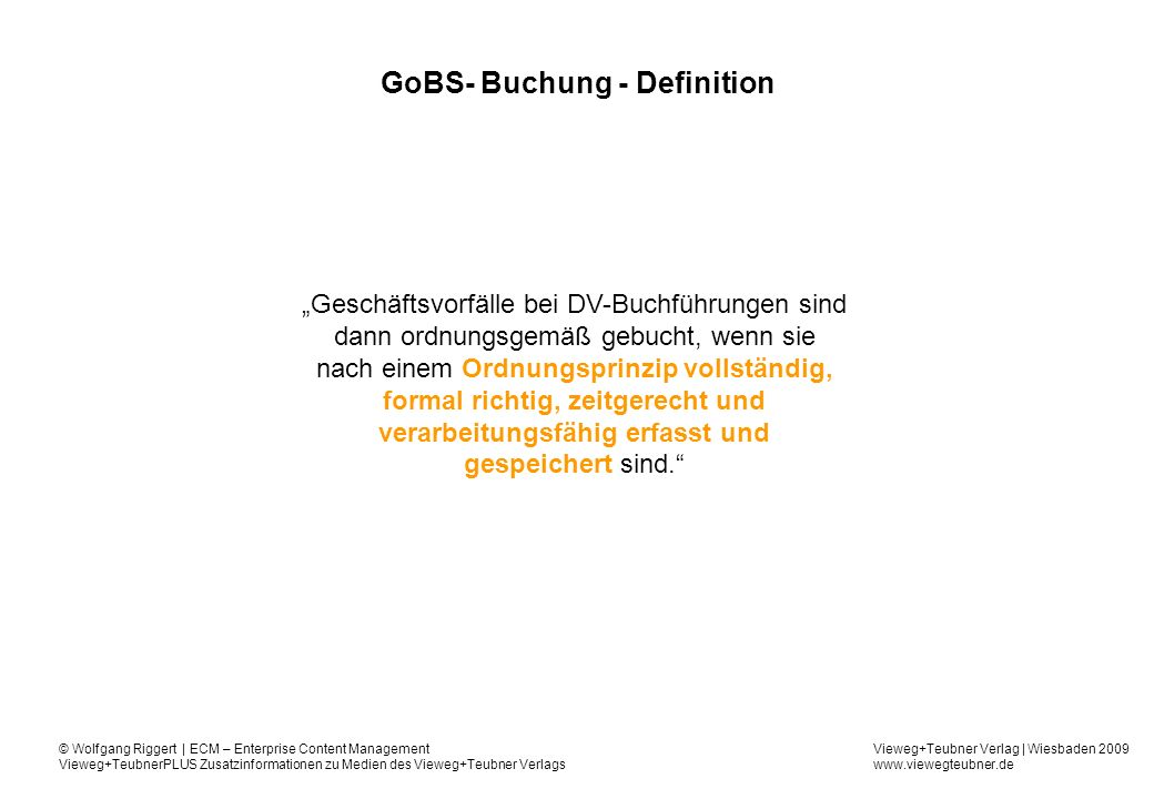 GoBS- Buchung - Definition