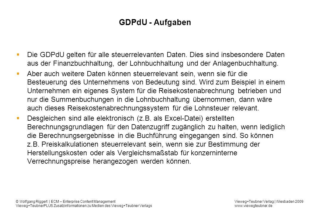 GDPdU - Aufgaben