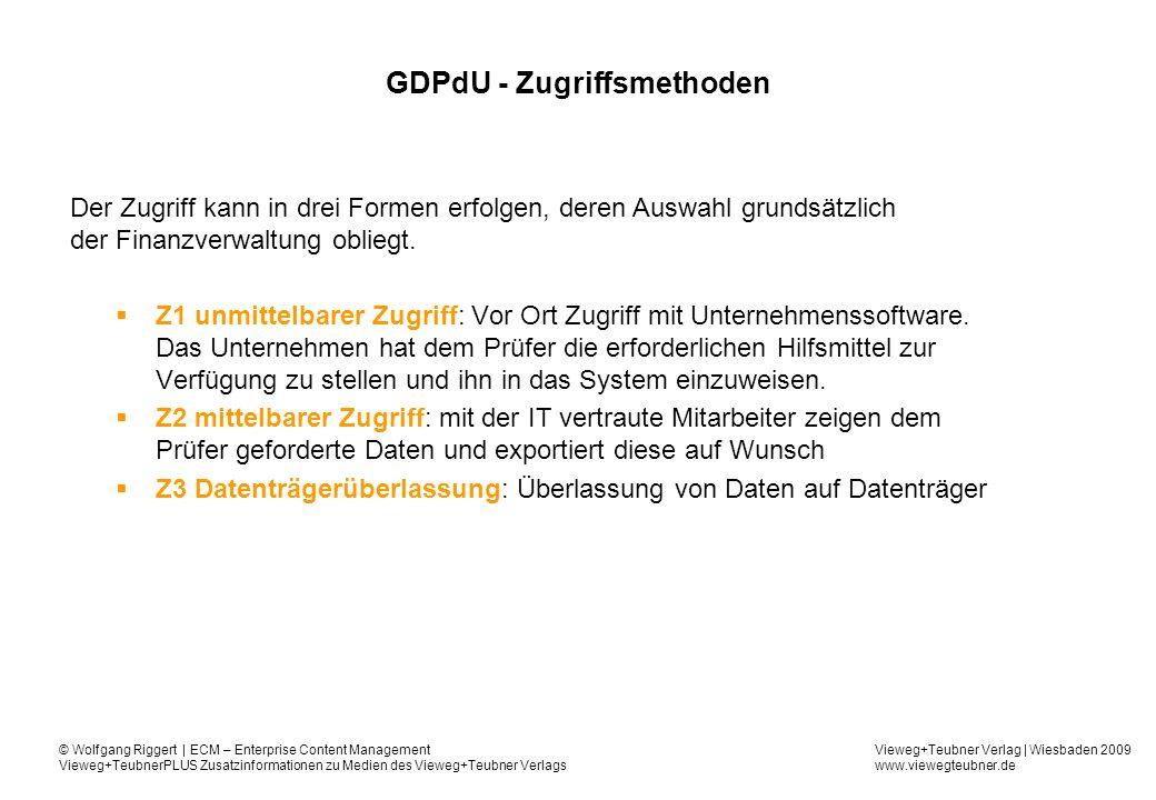GDPdU - Zugriffsmethoden