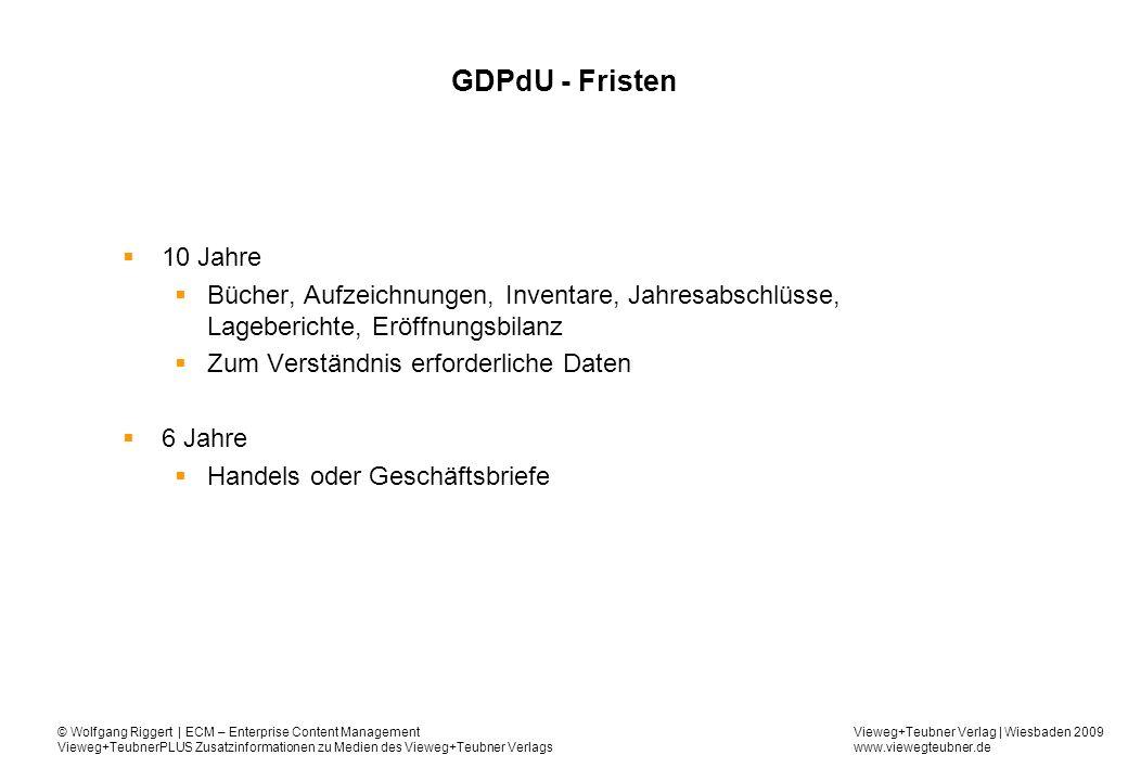 GDPdU - Fristen 10 Jahre. Bücher, Aufzeichnungen, Inventare, Jahresabschlüsse, Lageberichte, Eröffnungsbilanz.