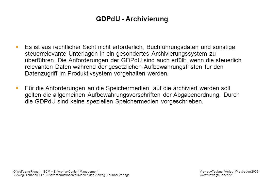 GDPdU - Archivierung