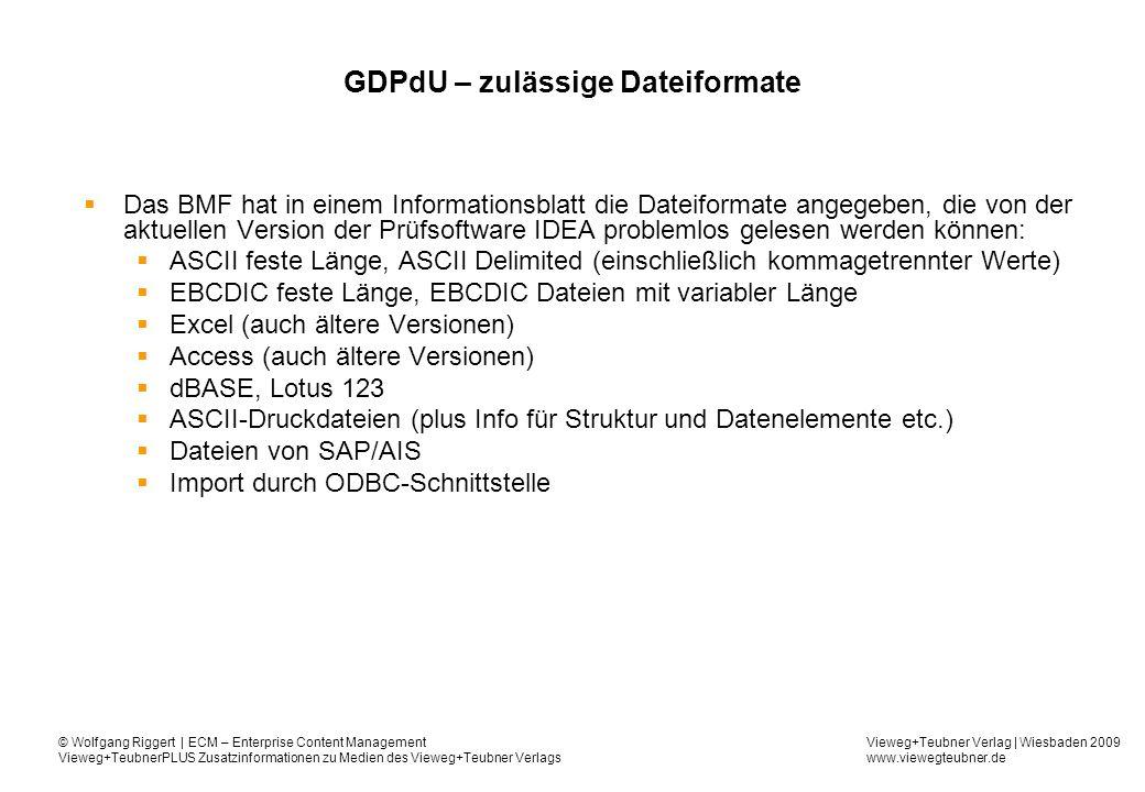 GDPdU – zulässige Dateiformate
