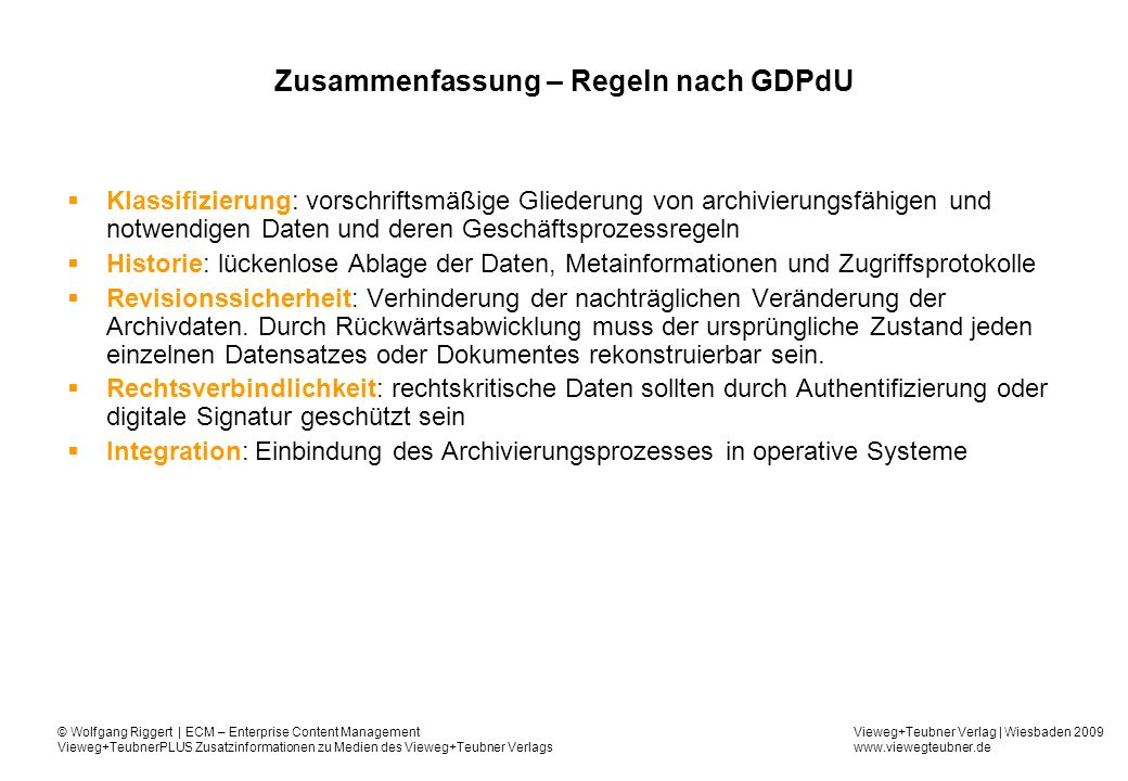 Zusammenfassung – Regeln nach GDPdU