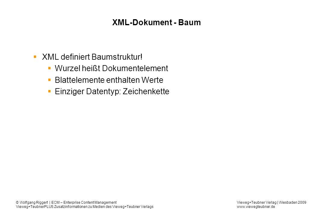 XML definiert Baumstruktur! Wurzel heißt Dokumentelement
