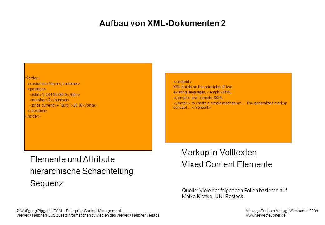 Aufbau von XML-Dokumenten 2