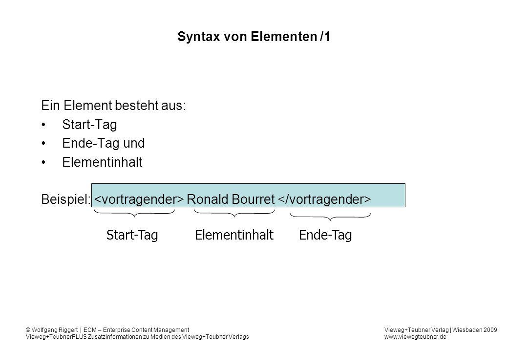 Ein Element besteht aus: Start-Tag Ende-Tag und Elementinhalt