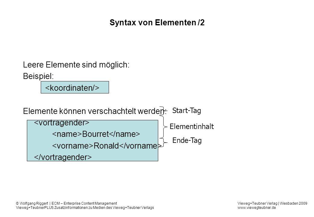 Leere Elemente sind möglich: Beispiel: <koordinaten/>