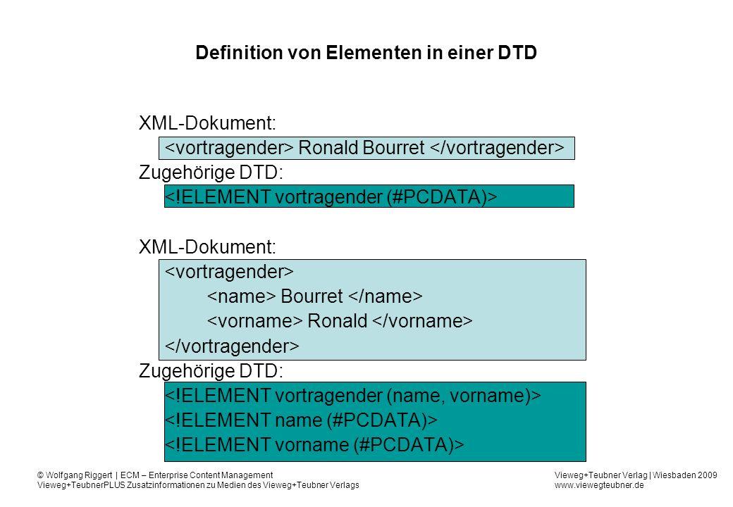 Definition von Elementen in einer DTD