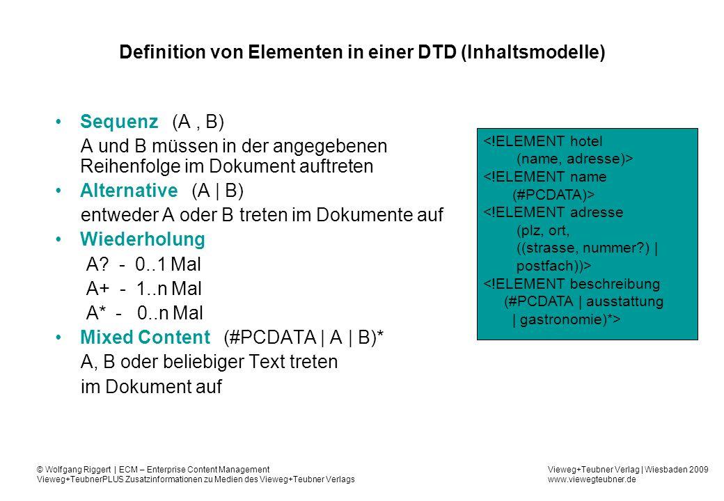 Definition von Elementen in einer DTD (Inhaltsmodelle)