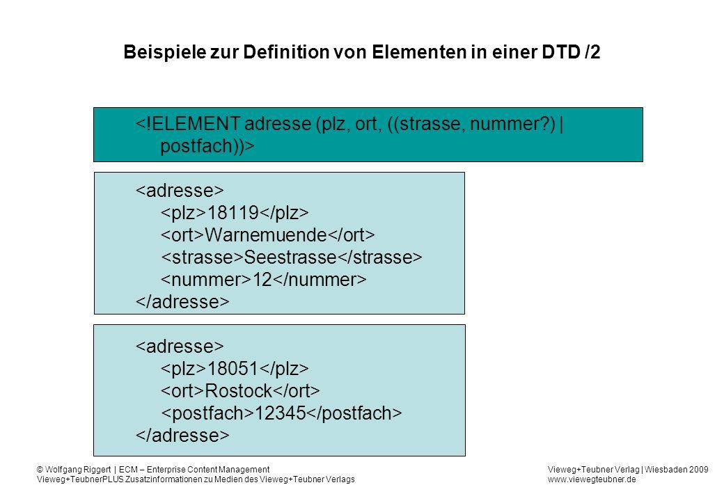 Beispiele zur Definition von Elementen in einer DTD /2