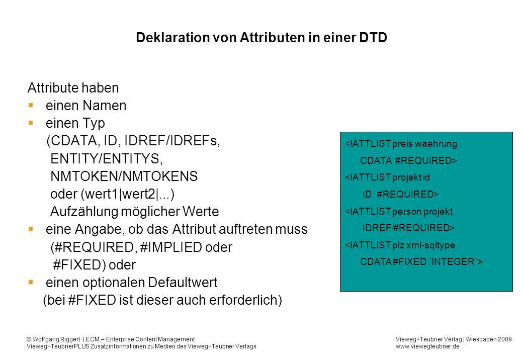 Deklaration von Attributen in einer DTD