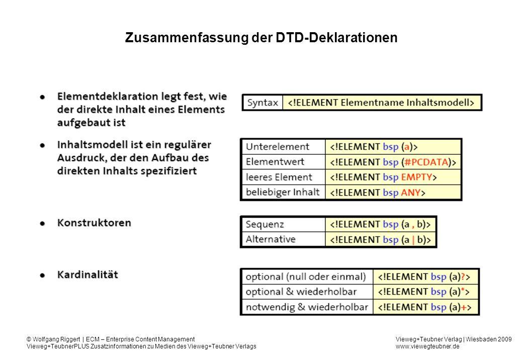 Zusammenfassung der DTD-Deklarationen