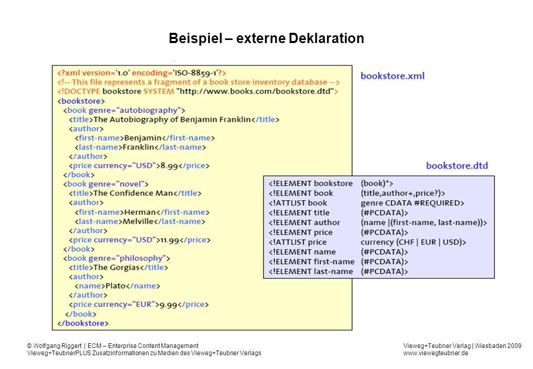Beispiel – externe Deklaration