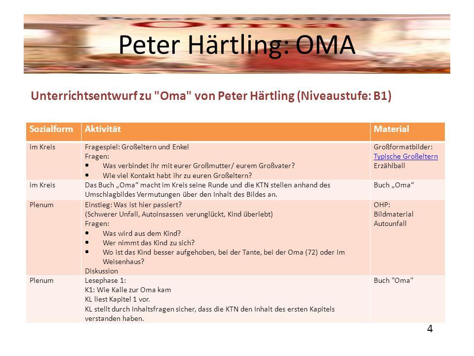 Peter Härtling: OMA Unterrichtsentwurf zu Oma von Peter Härtling (Niveaustufe: B1) Sozialform. Aktivität.