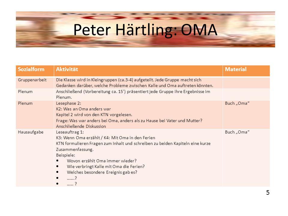 Peter Härtling: OMA 5 Sozialform Aktivität Material Gruppenarbeit