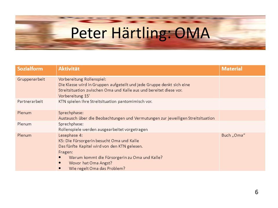 Peter Härtling: OMA 6 Sozialform Aktivität Material Gruppenarbeit