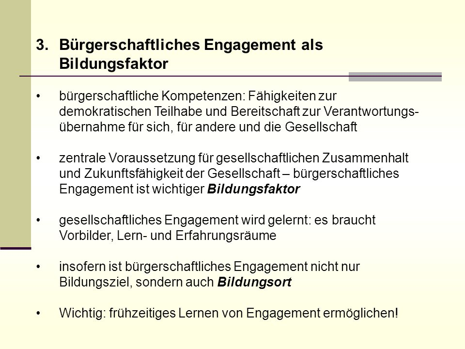 Bürgerschaftliches Engagement als Bildungsfaktor