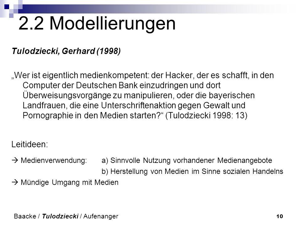 2.2 Modellierungen Tulodziecki, Gerhard (1998)