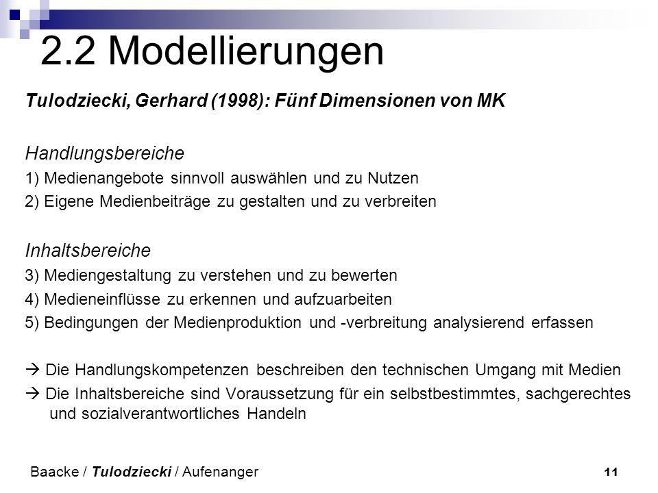 2.2 Modellierungen Tulodziecki, Gerhard (1998): Fünf Dimensionen von MK. Handlungsbereiche. 1) Medienangebote sinnvoll auswählen und zu Nutzen.