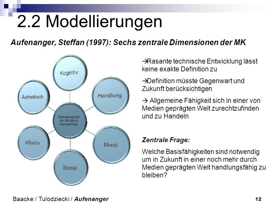 2.2 Modellierungen Aufenanger, Steffan (1997): Sechs zentrale Dimensionen der MK. Rasante technische Entwicklung lässt keine exakte Definition zu.