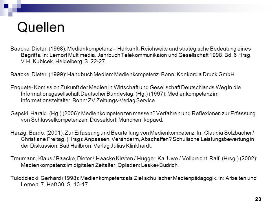 Quellen Baacke, Dieter. (1998): Medienkompetenz – Herkunft, Reichweite und strategische Bedeutung eines.