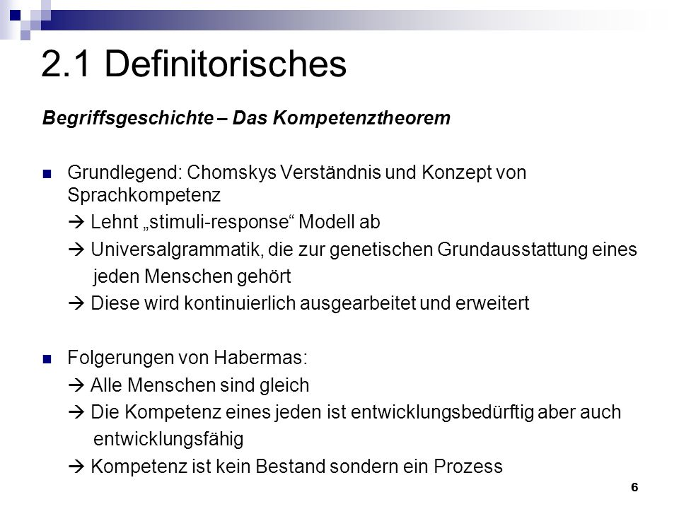 2.1 Definitorisches Begriffsgeschichte – Das Kompetenztheorem