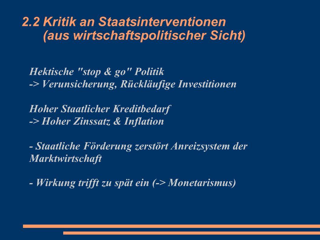 2.2 Kritik an Staatsinterventionen (aus wirtschaftspolitischer Sicht)