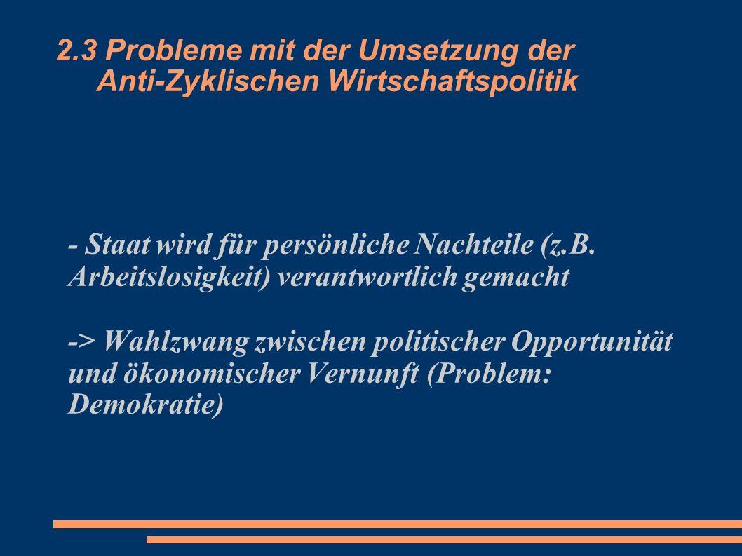 2.3 Probleme mit der Umsetzung der Anti-Zyklischen Wirtschaftspolitik