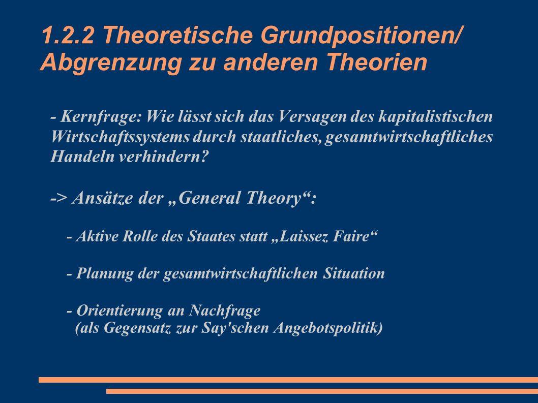 1.2.2 Theoretische Grundpositionen/ Abgrenzung zu anderen Theorien