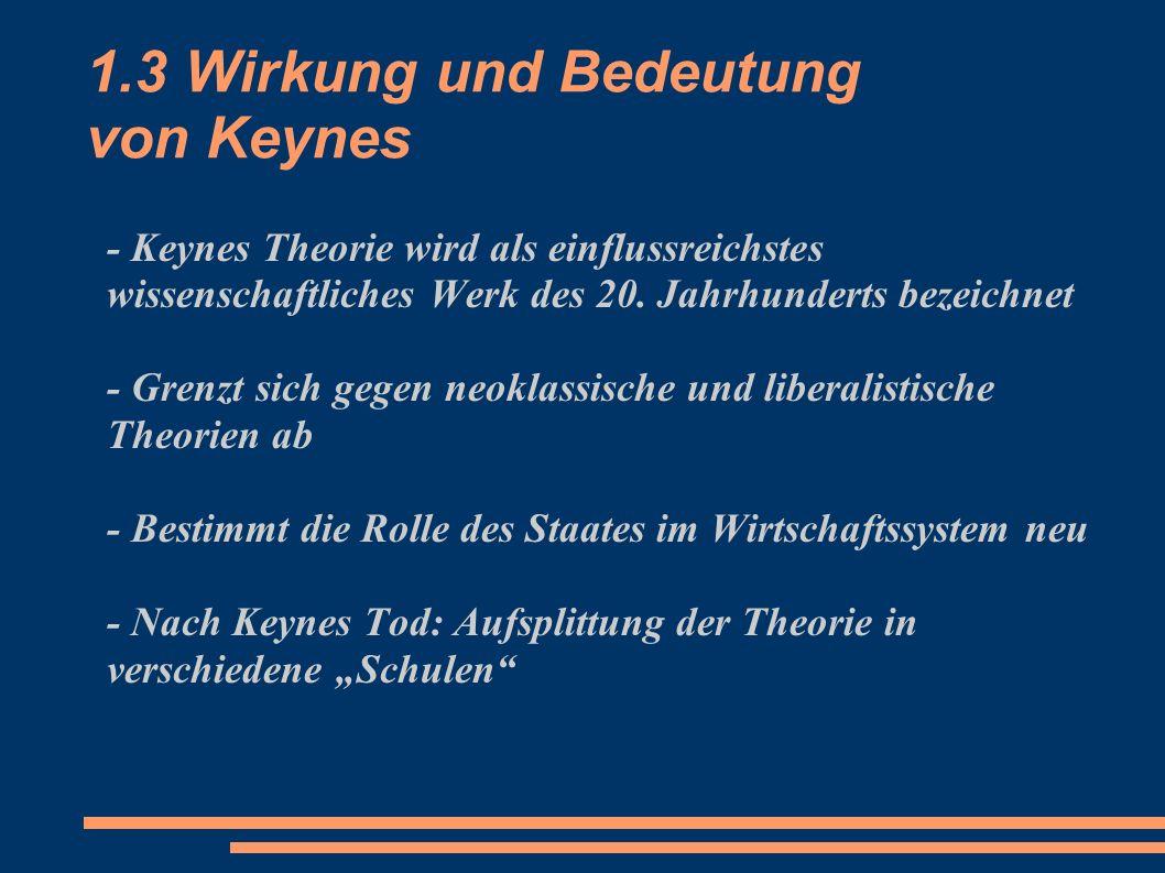 1.3 Wirkung und Bedeutung von Keynes