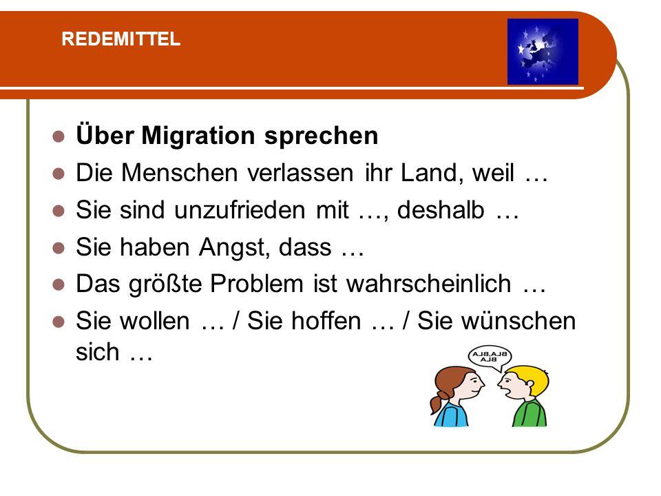 Über Migration sprechen Die Menschen verlassen ihr Land, weil …