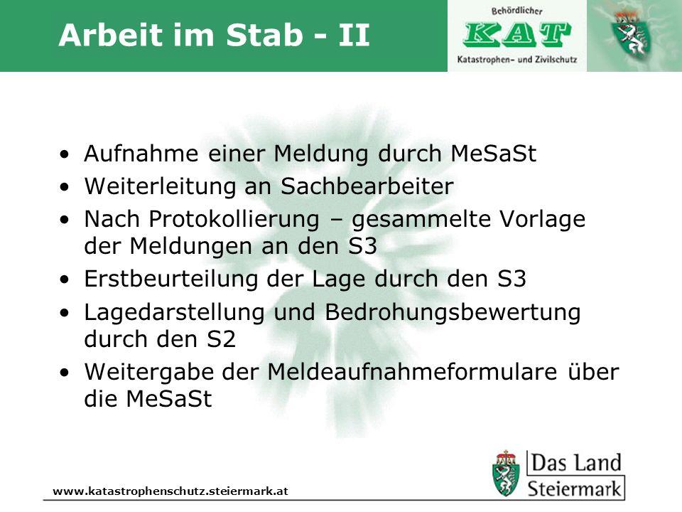 Arbeit im Stab - II Aufnahme einer Meldung durch MeSaSt