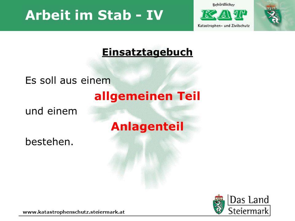 Arbeit im Stab - IV allgemeinen Teil Anlagenteil Einsatztagebuch