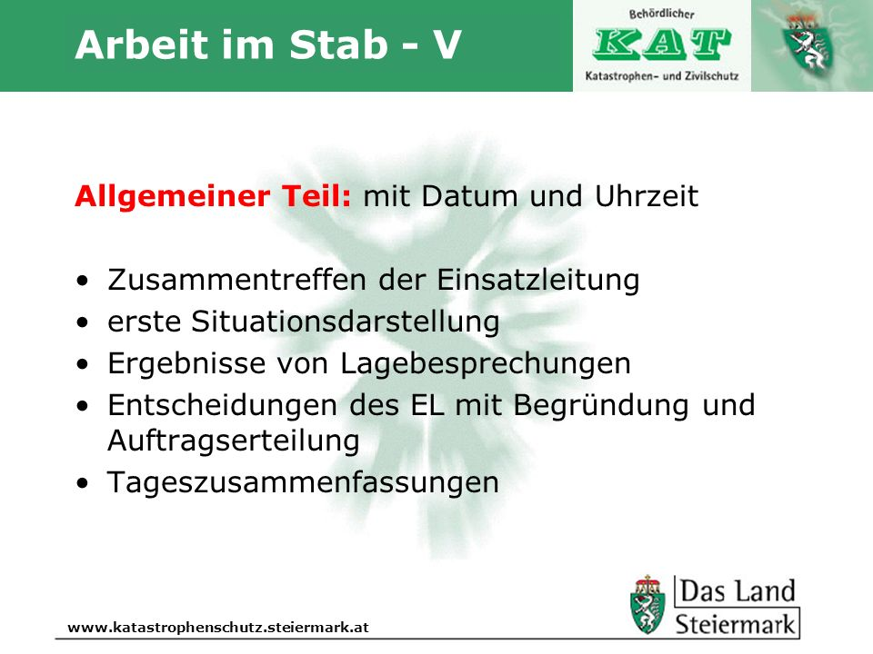 Arbeit im Stab - V Allgemeiner Teil: mit Datum und Uhrzeit