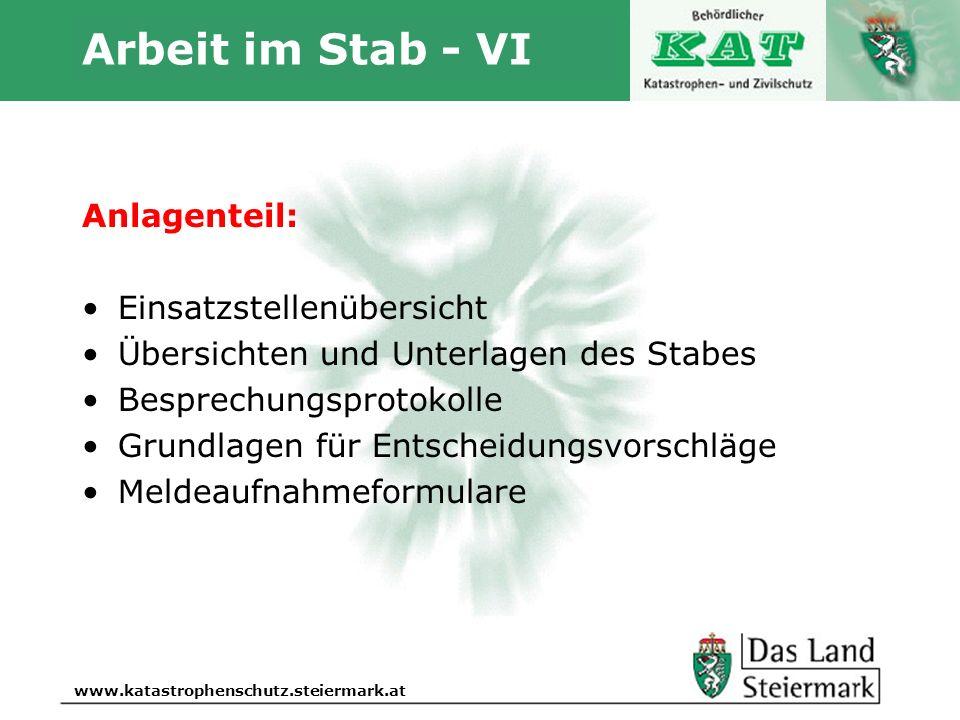 Arbeit im Stab - VI Anlagenteil: Einsatzstellenübersicht