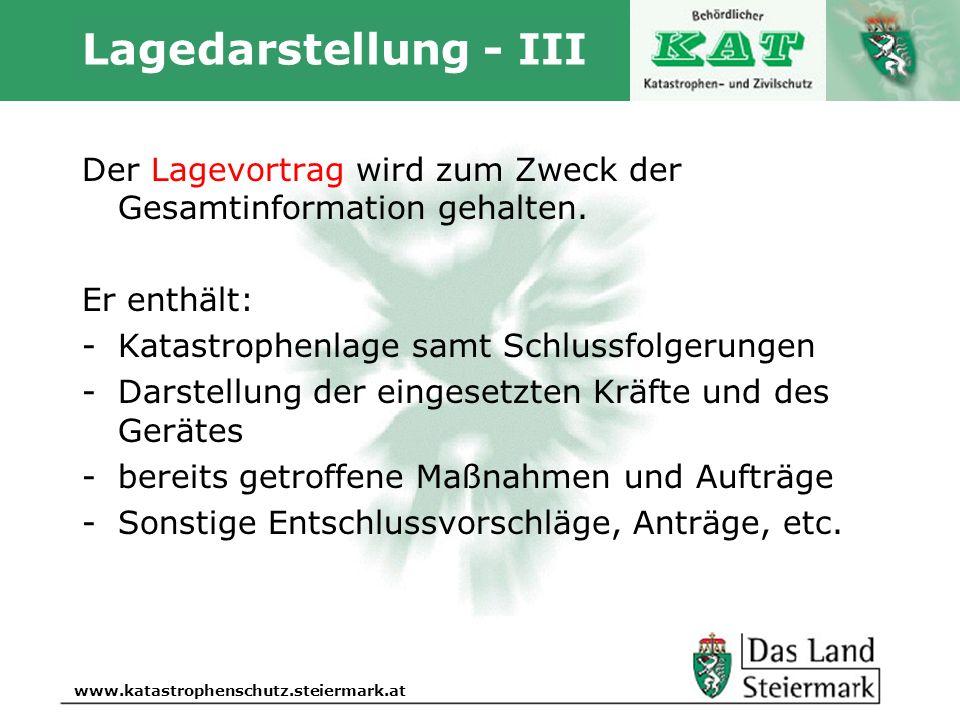 Lagedarstellung - III Der Lagevortrag wird zum Zweck der Gesamtinformation gehalten. Er enthält: Katastrophenlage samt Schlussfolgerungen.