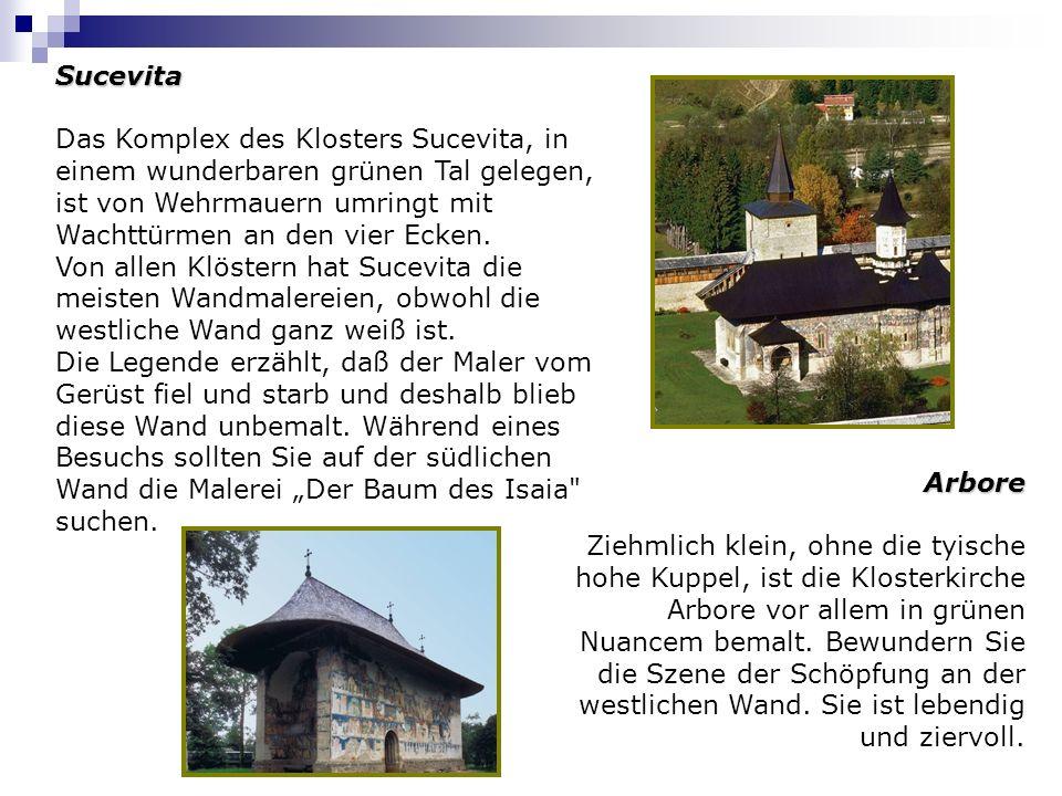 Sucevita Das Komplex des Klosters Sucevita, in einem wunderbaren grünen Tal gelegen, ist von Wehrmauern umringt mit Wachttürmen an den vier Ecken.
