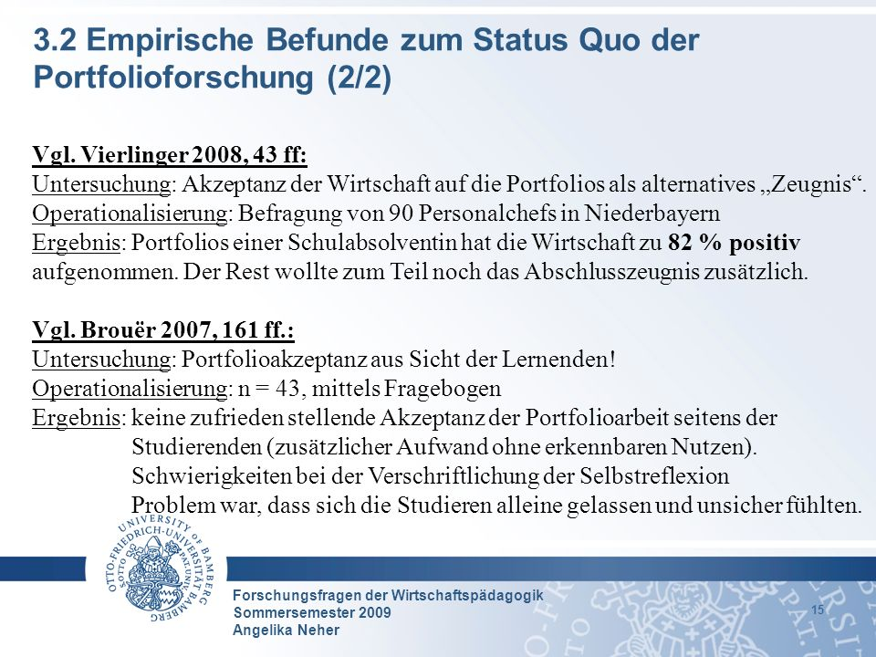 3.2 Empirische Befunde zum Status Quo der Portfolioforschung (2/2)