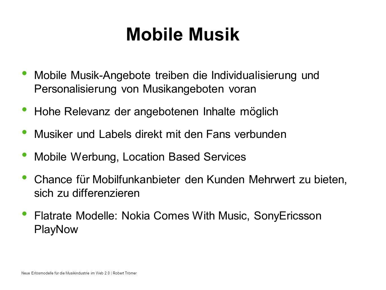 Mobile Musik Mobile Musik-Angebote treiben die Individualisierung und Personalisierung von Musikangeboten voran.