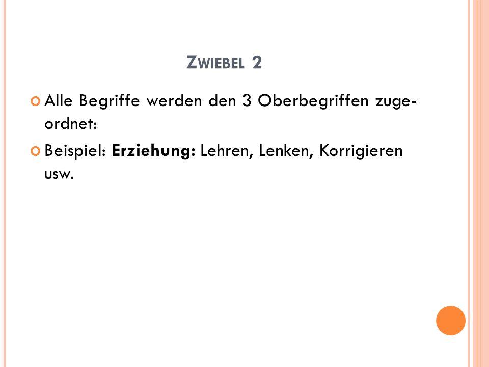 Zwiebel 2 Alle Begriffe werden den 3 Oberbegriffen zuge- ordnet: