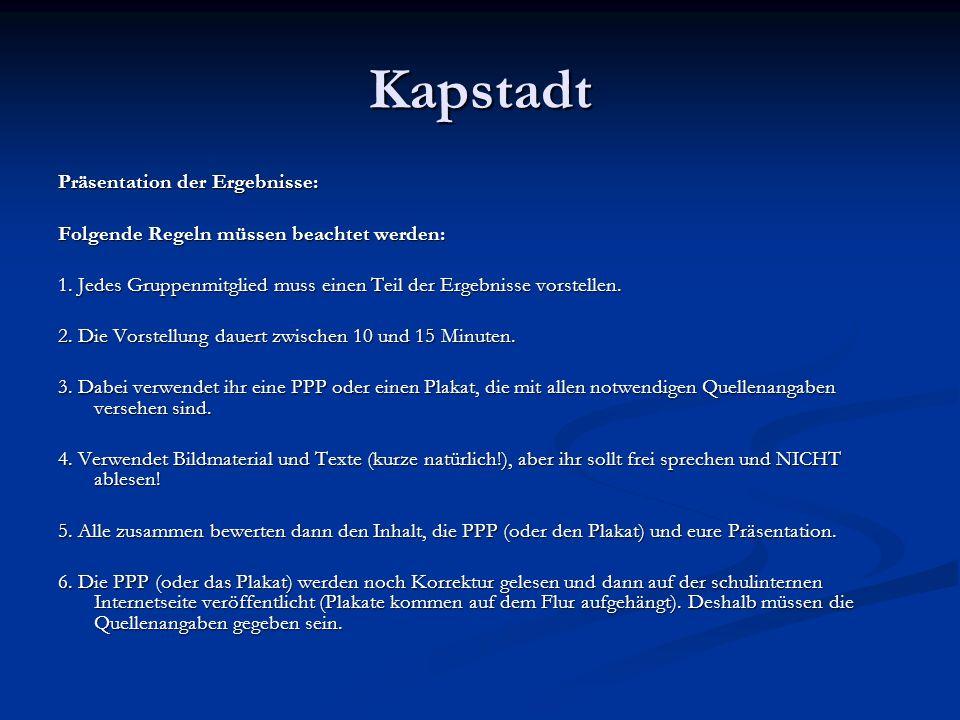Kapstadt Präsentation der Ergebnisse: