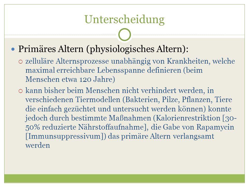 Unterscheidung Primäres Altern (physiologisches Altern):