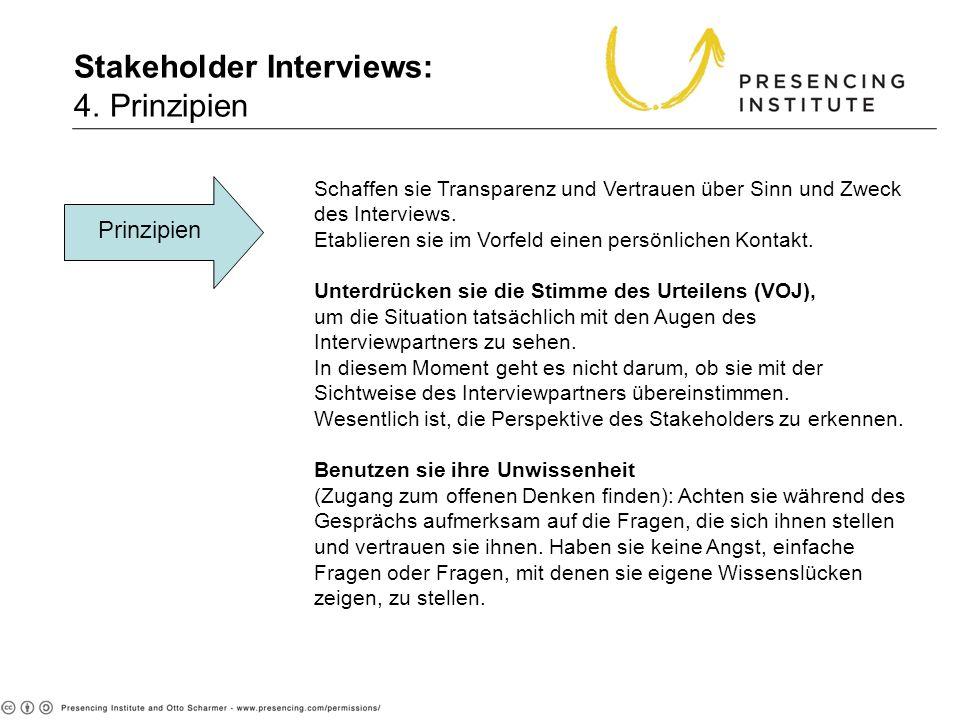 Stakeholder Interviews: 4. Prinzipien 4. Principles