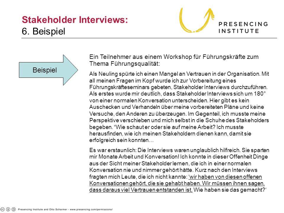 Stakeholder Interviews: 6. Beispiel