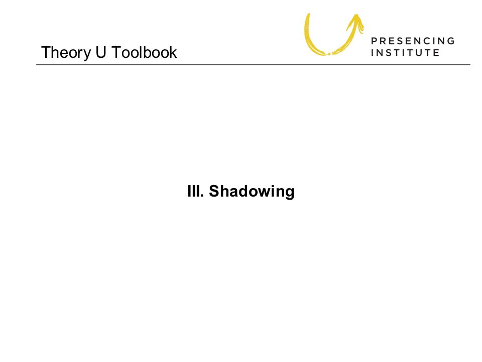 Theory U Toolbook III. Shadowing