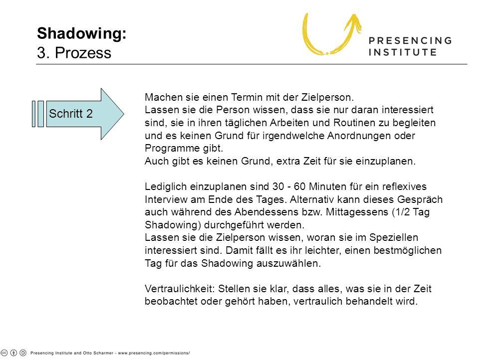 Shadowing: 3. Prozess Schritt 2