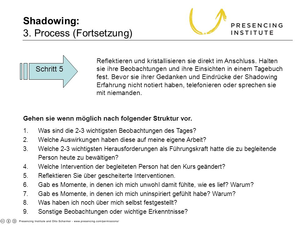 Shadowing: 3. Process (Fortsetzung)