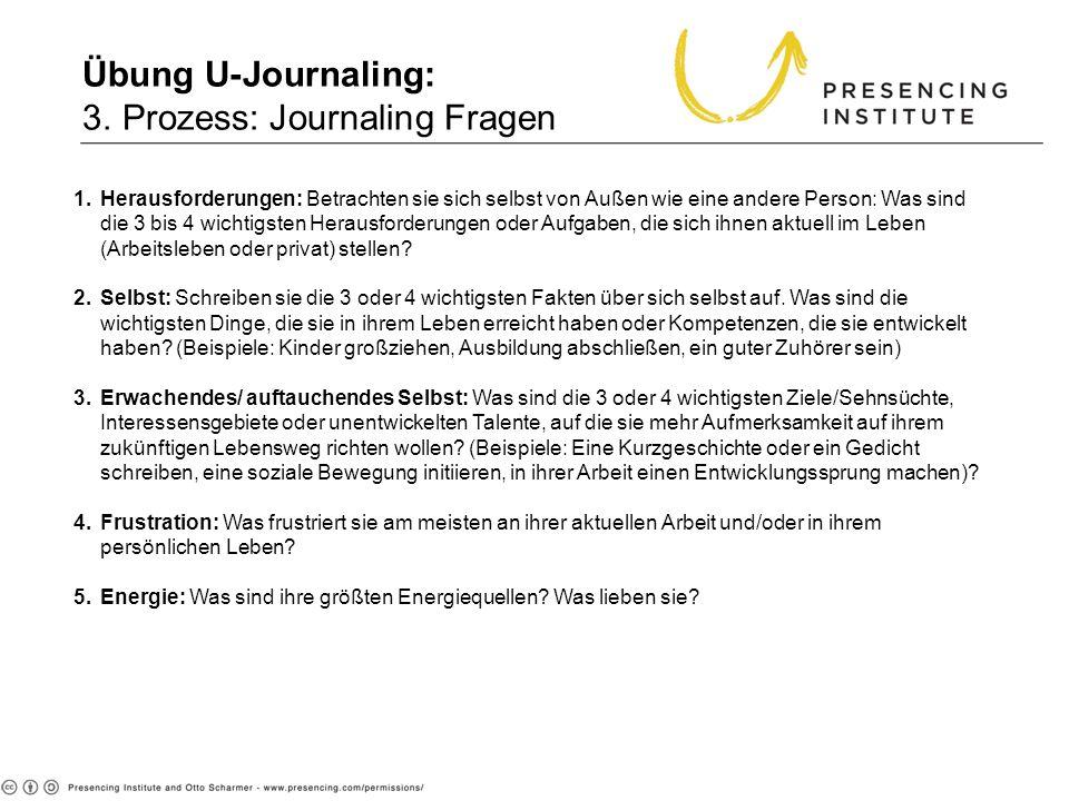 Übung U-Journaling: 3. Prozess: Journaling Fragen